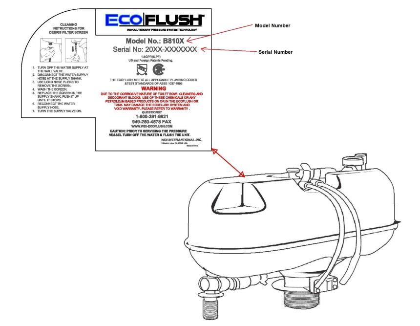 Ecoflush B8104 Parts : Support wdi ecoflush